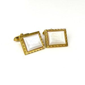 Cufflinks Mother of Pearl Beveled Edge Gold Tone